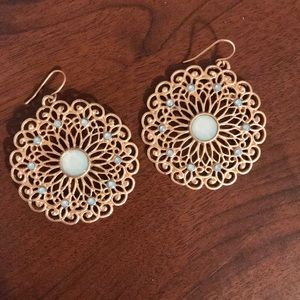 Blue and gold earrings